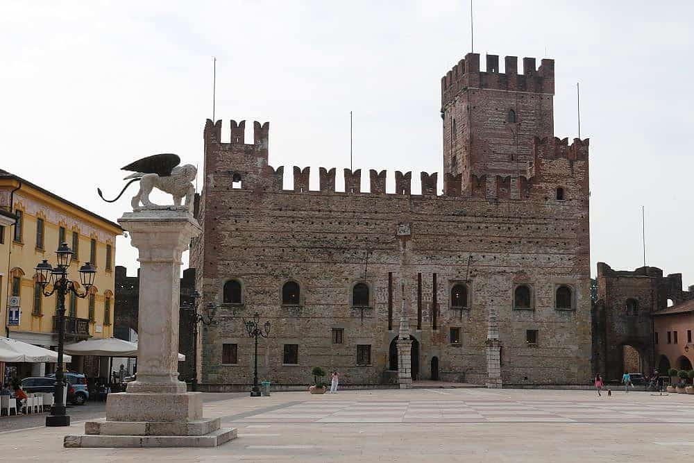 Marostica Chess square, medieval walled town in Veneto region, Italy